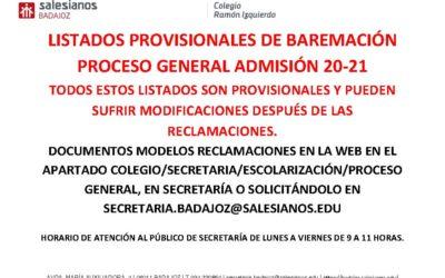 LISTADOS PROVISIONALES PROCESO GENERAL DE ADMISIÓN 20-21