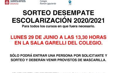 SORTEO DESEMPATE ESCOLARIZACIÓN 20-21