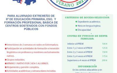 Inmersiones Lingüísticas en Lengua Inglesa en verano 2021. Junta de Extremadura