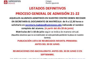 LISTADOS DEFINITIVOS ESCOLARIZACIÓN 21-22