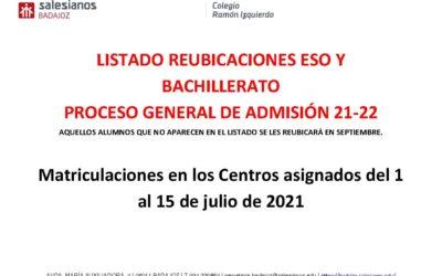 Listado alumnos reubicados a otro centro ESO-BACHILLERATO