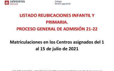 Listado de reubicaciones Infantil y Primaria Admisión 21-22