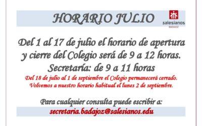 HORARIO COLEGIO JULIO 2019