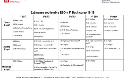 Fechas y horarios correspondientes a los exámenes de septiembre de ESO y 1º de Bachillerato